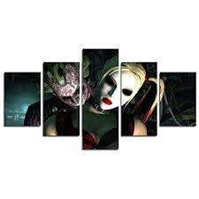 AtfArt <b>5 Piece HD</b> Printed Clown and Harley Quinn <b>Picture</b> Painting ...
