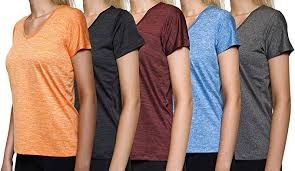 5-Pack Women's Short Sleeve V-Neck Activewear T ... - Amazon.com