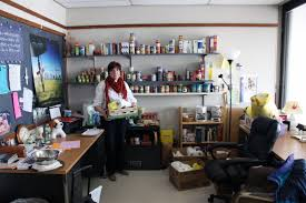 pastor dianna smith of campus ministries shares her office with the campus food pantry the building office pantry