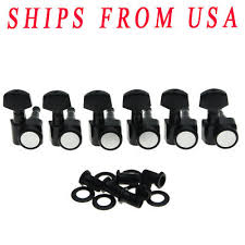 <b>KAISH</b> Black <b>6 Inline</b> 2 Pin <b>Locking</b> Tuning Keys Tuners Fits USA ...