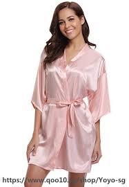 RB032 2018 New Silk Kimono Robe Bathrobe Women Silk ... - Qoo10