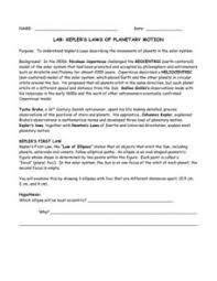 Lab Kelper    S Laws Of Plaary Motion  th   th Grade Worksheet