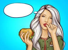 Free Vector   <b>Pop art girl</b> with burger licks a finger