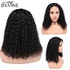 hanne hair 4 4 lace closure human wigs brazilian curly remy wig for black women 150 density glueless 1b color