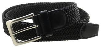 <b>Mens Braided Elastic Stretch</b> Belt Leather Tipped End and Silver ...