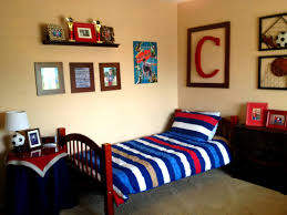 decor red blue room full: marci coombs the boys  sports themed bedroom