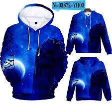 3D Mountain in Night <b>Digital Printing</b> Hooded Sweatshirts for Men ...