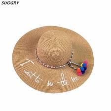 <b>Hot Sale</b> Wide Brim <b>Sun</b> Hats For <b>Women</b> Letter Embroidery Straw ...