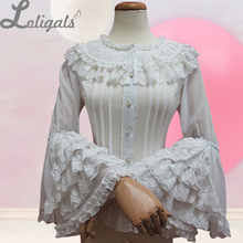 Retro Style <b>Long</b> Flare <b>Sleeve</b> Lolita Lace <b>Blouse</b> Women's Plus ...