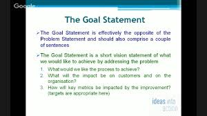 the problem statement and the goal statement the problem statement and the goal statement