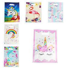 <b>20pcs Unicorn Flamingo</b> Plastic <b>Gift</b> Bags Cartoon Theme Loot Bag ...
