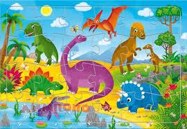 <b>Пазл листовой на</b> подложке. Динозавры. 24 детали. 21х29,5 см ...