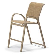 bar height patio chair: telescope casual aruba ii counter height stacking bar arm chair shown with a textured desert finish and hickory sling