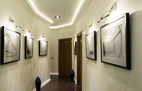 decorated hallway with wall painting and best lighting design best lighting for hallways