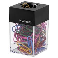 Купить <b>Скрепочница магнитная BRAUBERG</b> со 100 цветными ...