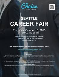 job opportunities  seattle career fair 13 2016 choice career fairs