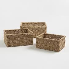 Skull Bathroom Decor Baskets Decorative Storage Wicker Weave Baskets World Market