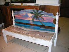 upcycled hand painted beach bench head board bench by jeanosart 94700 beachy furniture