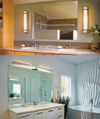 typically the standard or go to theme is to add light fixtures above the mirror giving you the task lighting to get ready in the morning or to brush your bathrooms lighting