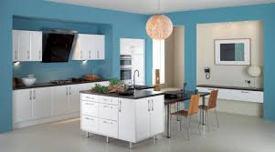 lovely blue kitchen wall colors with round hanging light over white plywood island with black marble astounding home interior modern kitchen