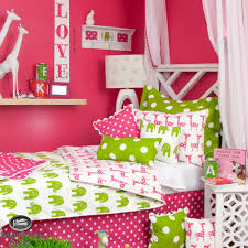dots pink twin girls bedroom
