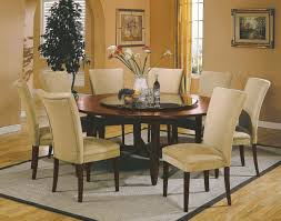 Round Dining Room Tables For 8 Purple Stained Wooden Frame Wood Legs Brown Leather Dining Chair