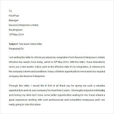 sample two weeks notice letter documents in pdf word two weeks resignation notice letter