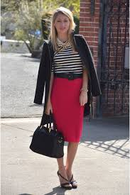 Image result for black pencil skirt with red jacket