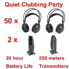 com buy most professional silent disco compete system com buy most professional silent disco compete system wireless headphones quiet clubbing party bundle 50 headphones 2 transmitters from