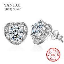 <b>YANHUI Original</b> Bridal 2 Carat Heart Diamant CZ Stud Earrings ...