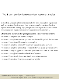 Top   post production supervisor resume samples In this file  you can ref resume materials