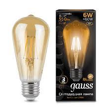 <b>Лампа Gauss</b> LED <b>Filament ST64</b> E27 6W Golden 2400К - Gauss ...