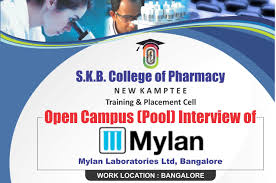 skb college of pharmacy open campus pool interview of mylan laboratories bangalore