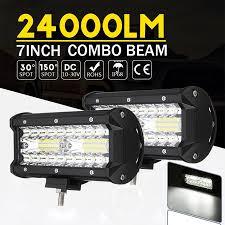 <b>7 Inch</b> Tri Row LED 120W White <b>6000K</b> Led Bar Off Road Lights ...