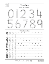 1st grade, Kindergarten Math Worksheets: Trace the numbers ...Skills