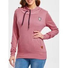 Wholesale <b>Drawstring Pocket Design Embroidered</b> Hoodie S Pink ...