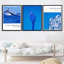 Canvas Prints Minimalism <b>Nordic Poster</b> Navy <b>Blue Sea</b> Birds ...