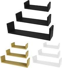 ASAB <b>MDF</b> Floating Shelves - <b>U Shaped</b> Wall Shelving Unit, <b>3</b> ...