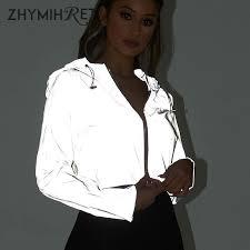 ZHYMIHRET <b>2019 Spring New</b> Reflective Female Jacket <b>Casual</b> ...