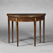 american furniture decorative arts 2710b skinner federal mahogany inlaid demilune card table attributed to thomas and samuel goddard newport rhode island late 18th century lot 72