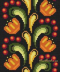 Схема вышивки цветочно-<b>ягодного</b> мотива Хохлома