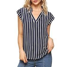 NREALY <b>Women's Summer Fashion</b> Casual Striped <b>Printed</b> V-Neck ...