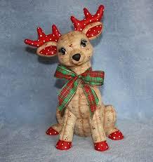 Ceramic Reindeer, Hand-painted softy Deer, stuffed reindeer ...