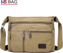 <b>Men's</b> canvas shoulder bag large capacity messenger bag <b>outdoor</b> ...