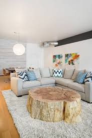a cool tree trunk table in the middle of the day room awesome tree trunk table 1