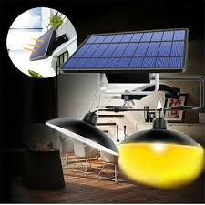 LED <b>Double Head</b> Solar Pendant Light Outdoor Indoor Garden ...