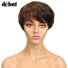 <b>Debut Hair Brazilian</b> Remy Short <b>Straight</b> Human Hair Wigs For ...