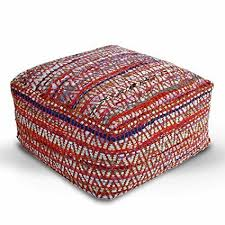 Homescapes Multi Coloured Square Cube <b>Pouffe</b> Chindi Style with ...