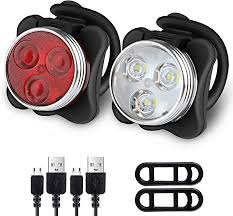 Ascher Rechargeable <b>LED Bike Lights Set</b> - Headlight Taillight ...
