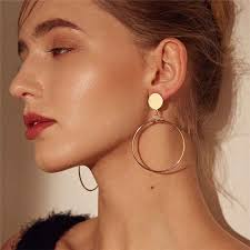 <b>Simple fashion</b> gold color Silver plated geometric big <b>round earrings</b> ...